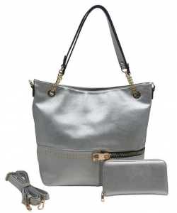 Two in One Tote Handbag Designer with Wallets AG313 SILVER