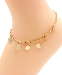Rhinestone Circle Dangle Anklet AN300024 GOLD