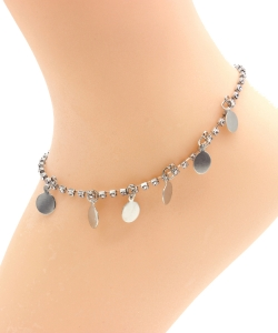 Rhinestone Circle Dangle Anklet AN300024 SILVER