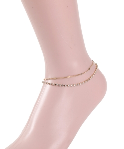 Rhinestone Chain Layered Anklet AN300031 GOLD