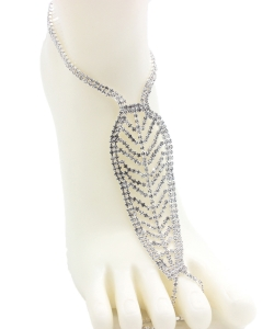 Rhinestone Leaf Shape Toering Anklet AN300034 SILVER