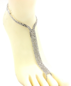 Rhinestone Simple Toering Anklet AN300039 SILVER