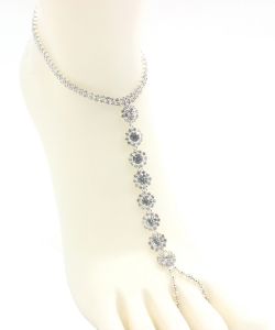 Rhinestone Point Toering Anklet AN300045 SILVER