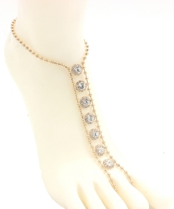 Ball Chain Rhinestone Point Toering Anklet AN300046 GOLD