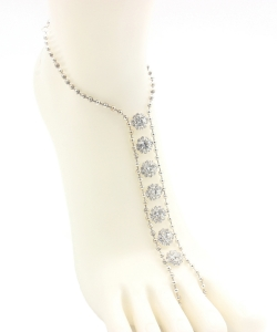Ball Chain Rhinestone Point Toering Anklet AN300046 SILVER