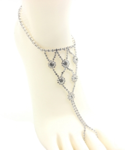 Rhinestone Net Style Toering Anklet AN300047 SILVER
