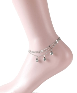 Layered Rhinestone Dangle Anklet AN300048 SILVER