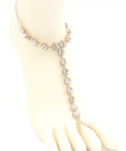 Big Rhinestone Point Toering Anklet AN330006 GOLD