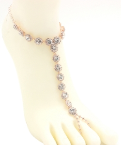 Big Rhinestone Point Toering Anklet AN330006 ROSEGOLD