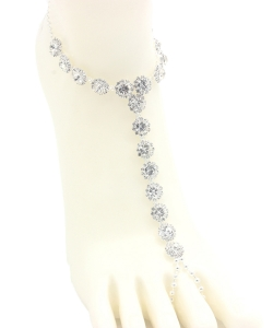 Big Rhinestone Point Toering Anklet AN330006 SILVER