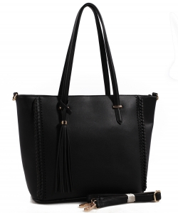 Fashion Logo Accented Tote Handbag With Long Strap AS1615 BLACK