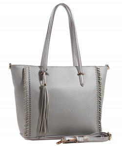 Fashion Logo Accented Tote Handbag With Long Strap AS1615 SILVER