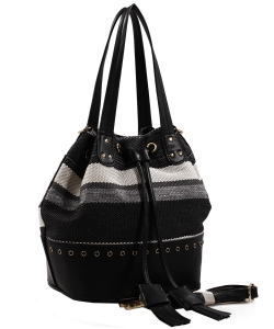 Fashion  Ebroidered Canvas Shopper Tote  AS1671 BLACK