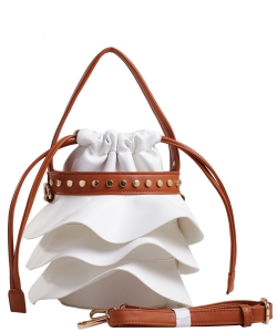 Fashion Faux Leather Handbag AS2198 WHITE