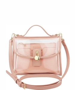 Clear Top Handle Satchel Crossbody Bag with Removable Wristlet Pouch B07MP1SB53 BLUSH