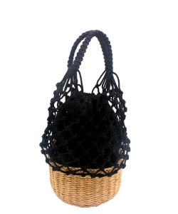 Woven Net Basket Bucket Bag  BA300049  BLACK