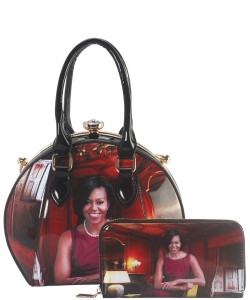 Michelle Obama Jewel-Top Satchel Purse and Wallet Combo BB-8240 BLACK