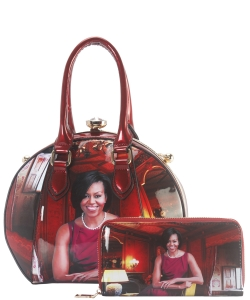 Michelle Obama Jewel-Top Satchel Purse and Wallet Combo BB-8240 RED