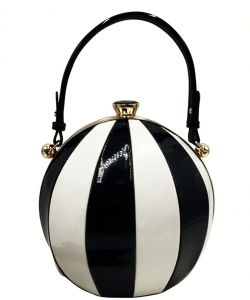 Fashion Ball Pattern Leather Block  Handbag BB705 BK/WHITE