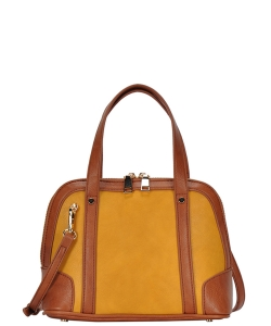 Top Handle Satchel Handbag BGA-3076 MUSTARD
