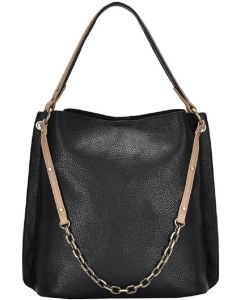 Chain 2-in-1 Shoulder Hobo Bag BGA-4012 BLACK