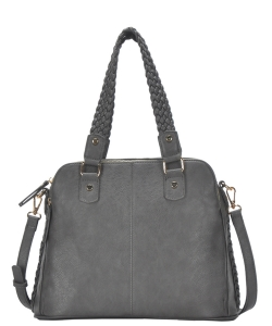 Triple Compartment with Braided Handle Tote Bag BGA-81137 CHARCOAL