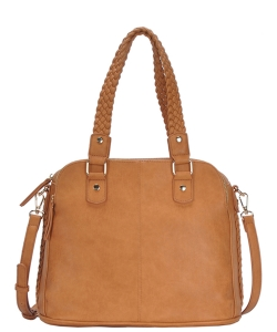 Triple Compartment with Braided Handle Tote Bag BGA-81137 CAMEL