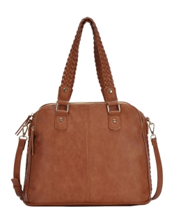 Triple Compartment with Braided Handle Tote Bag BGA-81137 TAN