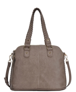 Triple Compartment with Braided Handle Tote Bag BGA-81137 TAUPE