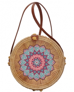 Round Bamboo Straw Woven Shoulder Bag Genuine Leather Strap Purse Women Buckle Closure BGA-82639 NATURAL