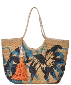 Stylishflower Print Natural Woven Shopper Bag with Seashell Tassel Charm BGA-IN04 BLUE