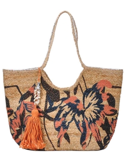 Stylishflower Print Natural Woven Shopper Bag with Seashell Tassel Charm BGA-IN04 BLUSH