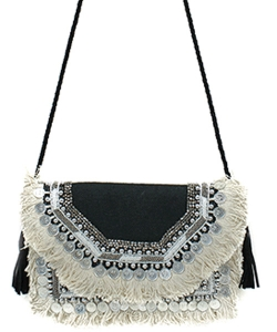 Antik Kraft Jute Fringe Crossbody Bag  BGA-IN08 BLACK