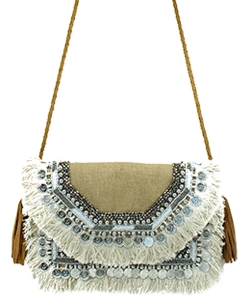 Antik Kraft Jute Fringe Crossbody Bag  BGA-IN08 CAMEL