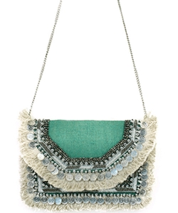 Antik Kraft Jute Fringe Crossbody Bag  BGA-IN08 TEAL