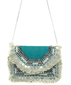 Antik Kraft Jute Fringe Crossbody Bag  BGA-IN08 TURQUIOSE
