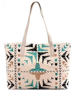 Antik Kraft Triba Ebroidered Canvas Shopper Tote BGA2498-LP BLUE