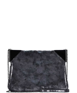 Chic Stylish Corner Accent Clutch with Long Chain BGS-0943 PEWTER