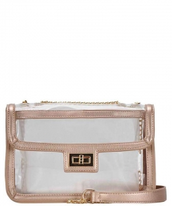 Smooth Transparent Clair Fashion Sling Bag BGS-2835 ROSEGOLD