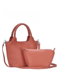 3 In1 Cute Stylish Tote Bag with Long Strap BGS-2959 CORAL