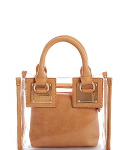 2 In1 Cute Transparent Chic Tote with Long Strap BGS-48816 NUDE