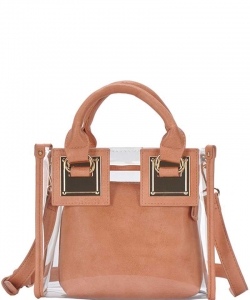 2 In1 Cute Transparent Chic Tote with Long Strap BGS-48816 CORAL