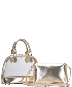2 In1 Cute Transparent Domed Satchel BGS-5799 GOLD