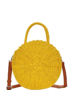 Bohemian Straw Round Satchel BGS-82613 YELLOW