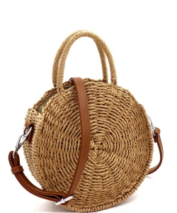 Bohemian Straw Round Medium Satchel BGS-82626 CAMEL