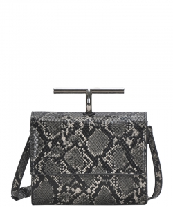 Fashion Faux Snakeskin Crossbody Bag BGS-83800 BLACK