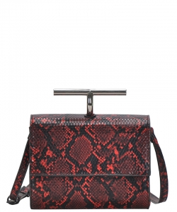 Fashion Faux Snakeskin Crossbody Bag BGS-83800 RED