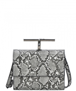 Fashion Faux Snakeskin Crossbody Bag BGS-83800 SNOW