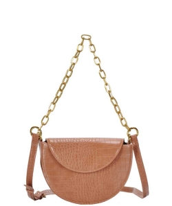 Snake Skin Pattern Plain Leather Crossbody Bag BGS-86610 TAN