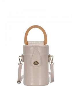 Fashion Cylindrical Cute Crossbody Bag with Long Strap BGS-86790 TAUPE